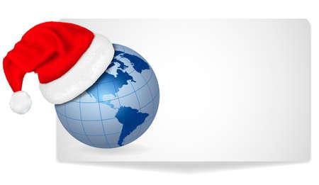Card with Santa hat on a globe. Vector illustration. Vector