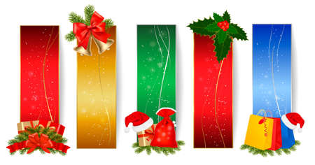 christmas bell: Set of winter christmas banners. Vector illustration . Vector illustration.