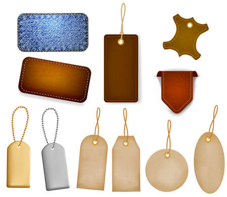 blank tag: Big set of leather labels and tags. Vector illustration