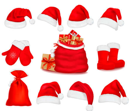 santa costume: Big set of red santa hats and clothes and a gift bag. Vector illustration.