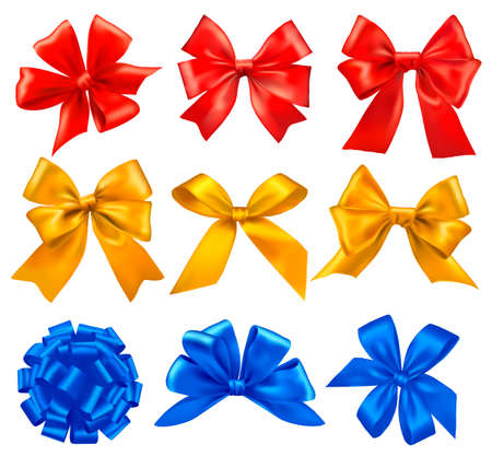 Big set of colorful gift bows with ribbons. Vector. Vector