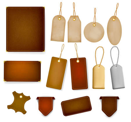 rough leather: Big set of leather labels and tags. Vector illustration