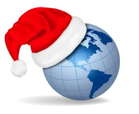 Santa hat on a globe. Vector illustration. Vector