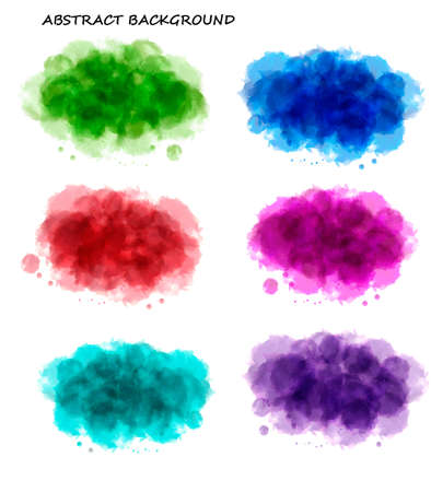 Collection of colorful abstract watercolor backgrounds. Vector. Vector