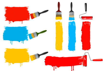vibrant paintbrush: Set of colorful paint roller brushes. vector illustration.