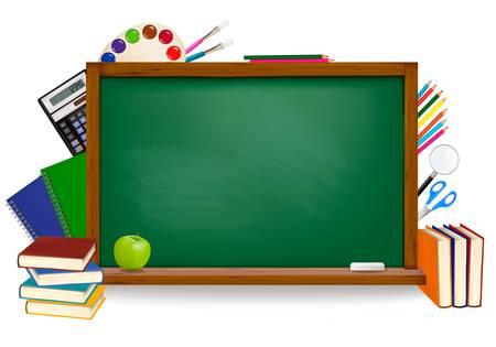 Back to school. Green board with school supplies. Vector.