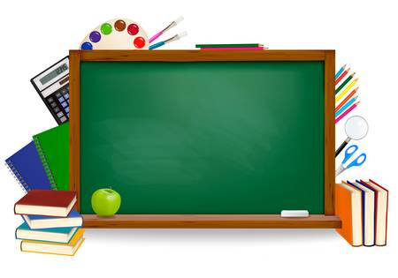 chalk board: Back to school. Green board with school supplies. Vector.