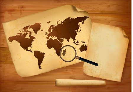 Old map and old paper on wooden background. Vector illustration. Vector