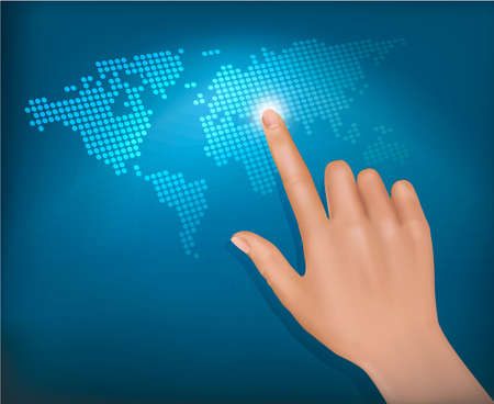 Finger touching world map on a touch screen. Vector.  Vector