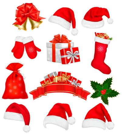 stockings: Big set of red santa hats and clothing. Vector illustration.