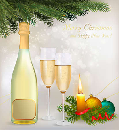 Glasses of champagne and candles: Holiday background with two glasses of champagne and bottle. Vector.