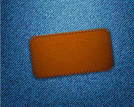 Leather label on jeans background. Vector.  Vector