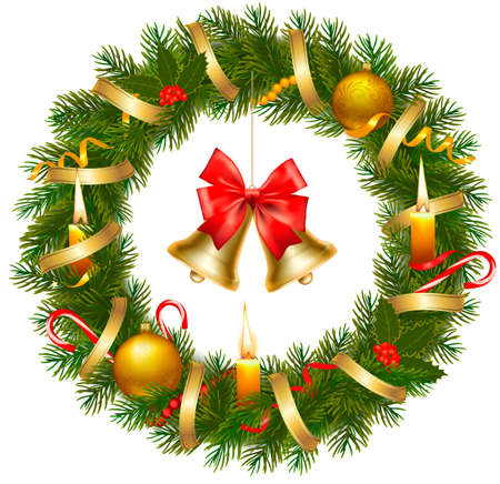 Christmas wreath with christmas tree and bell. Vector