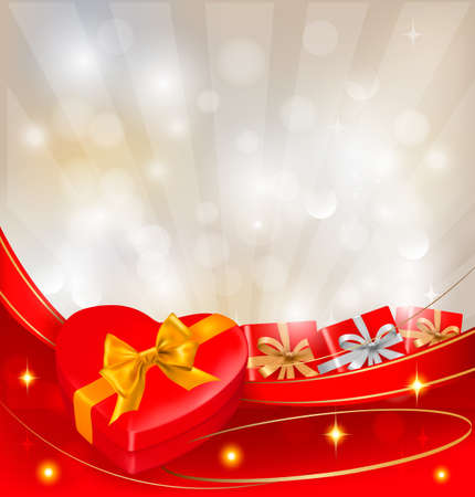 Abstract background with red bow and ribbons. Vector. Vektorové ilustrace
