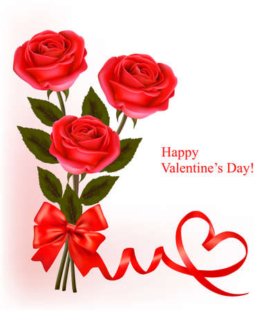 single color image: Valentine`s day background. Red roses and gift red bow. Vector illustration. Illustration