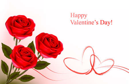 Valentine`s day background. Red roses and gift red bows. Vector illustration. Vector