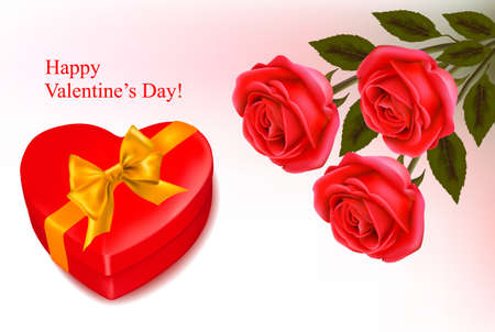 Valentine background. Red roses and a box in the shape of heart. Vector illustration. Vector
