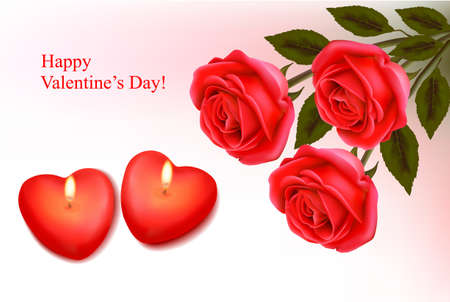 Valentine background. Red roses and two heart candles. Vector.  Vector