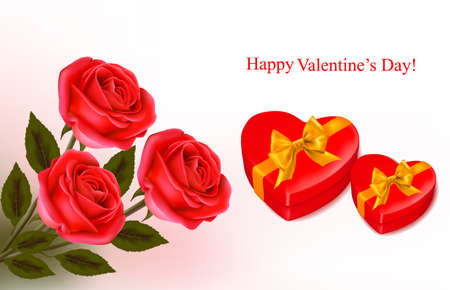 Valentine background. Red roses and two  boxes in the shape of heart. Vector illustration.  Vector