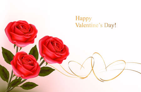 silk ribbon: Valentine`s day background. Red roses and gift gold bows. Vector illustration.