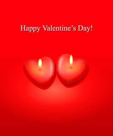 Valentine background. Red background and two heart candles. Vector.  Vector