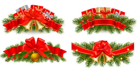 polly: Set of holiday christmas garlands with red ribbons. Vector.