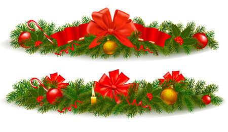 polly: Two holiday christmas garlands. Vector illustration.