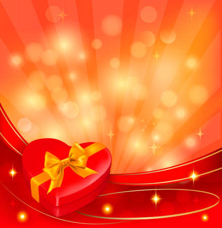 red gift box: Valentine background with red gift box and ribbons. Vector.