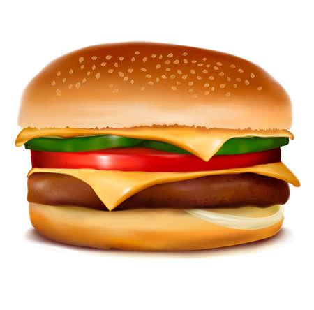 sezam: Cheeseburger. Ilustracji wektorowych.