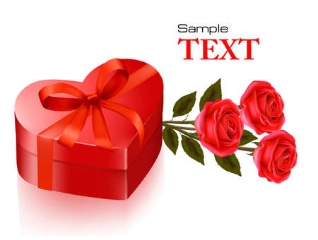 Valentine`s day background. Red roses and gift red box. Vector illustration.  Vector