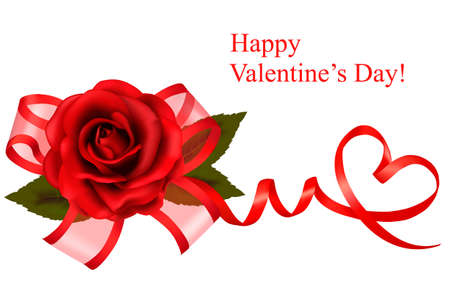 roses and hearts: Valentine`s day background. Red rose with gift red bow. Vector illustration.