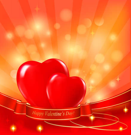Valentine`s day background with two red hearts and ribbons. Vector.