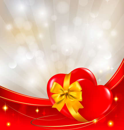 Valentine`s day background. Red heart with ribbon. Vector illustration.  Vector