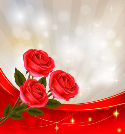 hearts and roses: Valentine`s day background. Red rose with gift red ribbons. Vector illustration.  Illustration