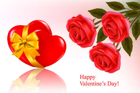 Valentine`s day background. Two red hearts with a ribbon. Vector illustration.  Vector