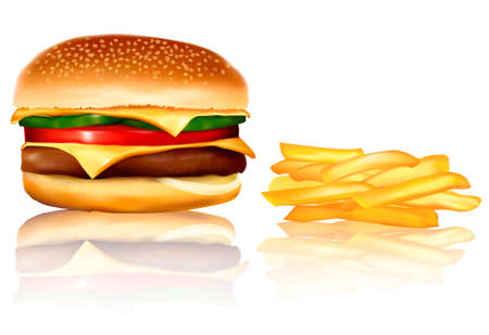 wiener:  Big group of fast food products. Vector