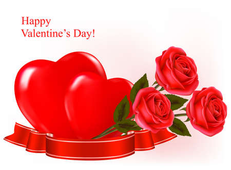 Valentine`s day background. Three red roses with two hearts and ribbon. Vector illustration. Vector
