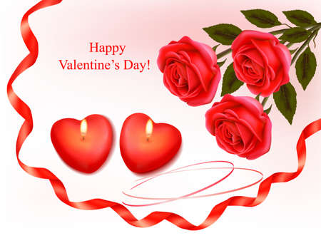 Valentine`s day background. Red roses and two heart candles. Vector.  Stock Vector - 11884669
