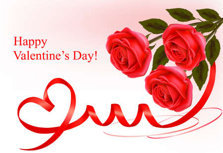 Valentine`s day background. Red roses and red ribbons. Vector. Stock Vector - 11884668
