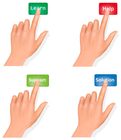 push up: Set of hands pushing different buttons and thumb up. Vector.