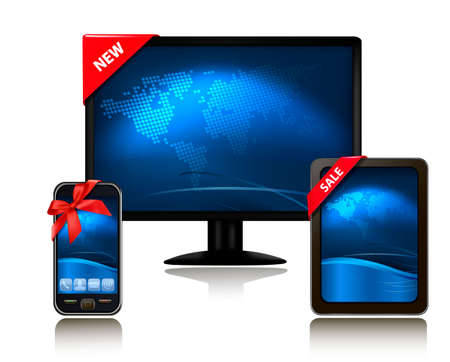 Monitor and tablet computer and mobile phone with ribbons. Vector.  Vector