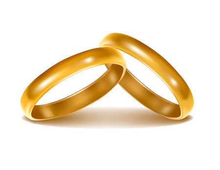 two object: Background with wedding rings. Vector illustration.