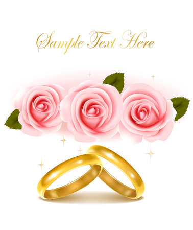 vow: Background with wedding rings and roses bouquet. Vector illustration. Illustration