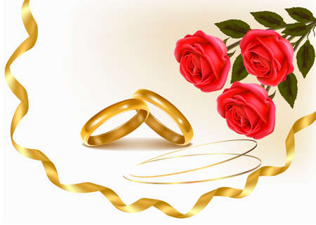 betrothal: Background with wedding rings and roses bouquet. Vector illustration. Illustration