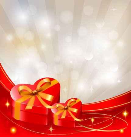 Valentine`s day background with red gift box with bow and ribbons. Vector.  Vector