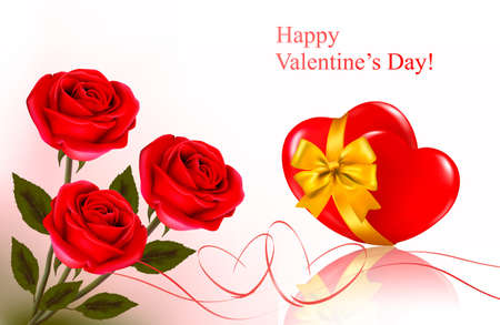 Valentine`s day background. Red roses and gift red bow. Vector illustration. Vector