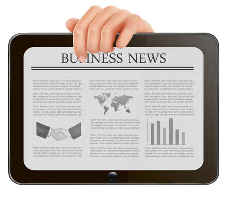newspaper headline: Hand holding digital tablet pc with business news. Vector illustration Illustration