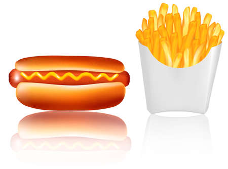 Hotdogr and french fries. Vector. Vector
