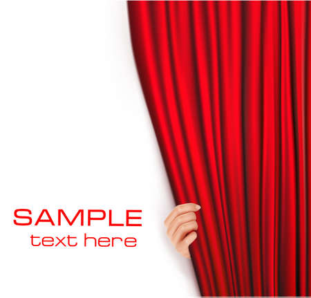window curtains: Backgrounds with red velvet curtain. Vector illustration