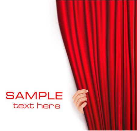 rideau sc�ne: Fond avec rideau de velours rouge. Vector illustration